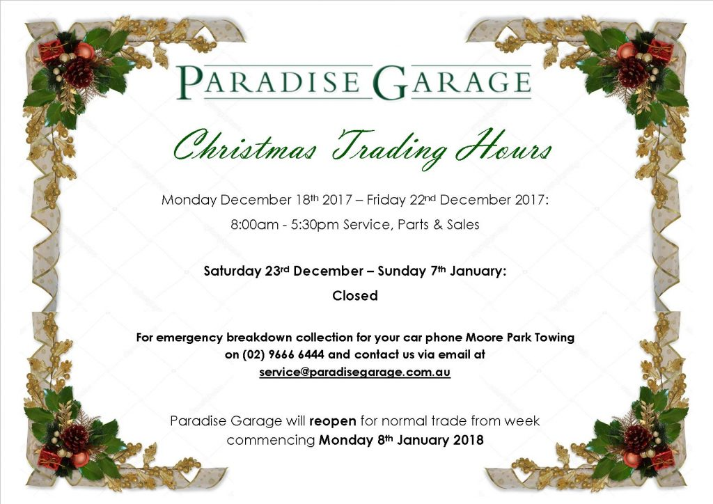 2017-2018 Christmas Trading with breakdown details